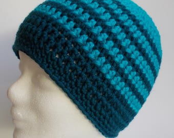 beanie, hat, wooly hat, petroleum and turquoise, crochet