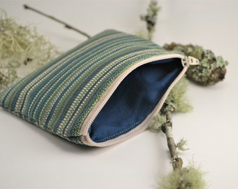 Green and Blue Striped Zippered Coin Purse