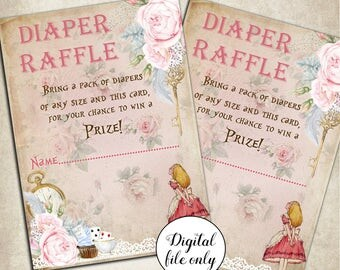 Digital Alice in Wonderland Diaper Raffle Card Printable, Baby Shower,