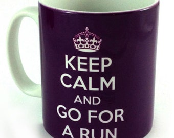 Keep Calm and Go For A Run 11oz Gift Mug Cup Present For Runner