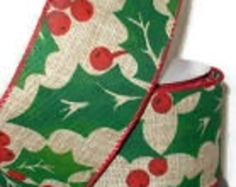 """SALE!!! 2.5"""" x 10yds Natural Faux Burlap Christmas Ribbon Wired Edge/Wreath Supplies/Christmas Ribbon/JS15-103"""