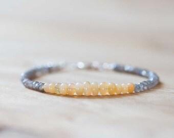 Mystic Labradorite & Welo Opal Bracelet, Beaded Multi Gemstone Stacking Bracelet, Labradorite Jewelry, Sterling Silver or Rose Gold Filled