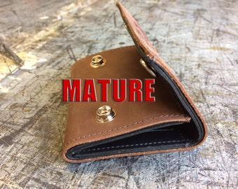 Mature, Bad Mother F*cker Mens Basic Trifold Wallet with snaps, Genuine Leather, Made in USA
