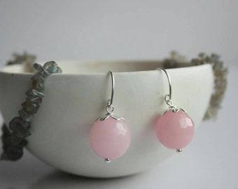 Pink colour dyed Quartz earrings