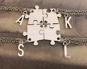 Bridesmaid Gift Puzzle Piece Necklace ,Best Friends necklace,Sister necklace for 4