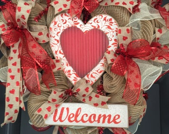 Valentines Wreath,Free Shipping,Valentines  Wreath For Front Door, Valentine Day Gifts, Heart Door Wreath Sassy Doors Wreath, Valentine Fron