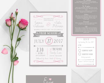 Blush pink and soft grey ornate festival wedding invitation package
