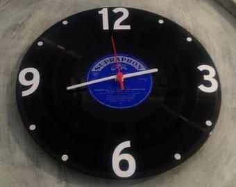 Uhr aus Schallplatte SUPRAPHON blau  LP Vinyl Deko Wall Clock Time
