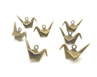 20 charms crane Origami bronze 27mm