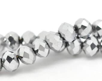 100 faceted glass crystal silver 6 mm beads