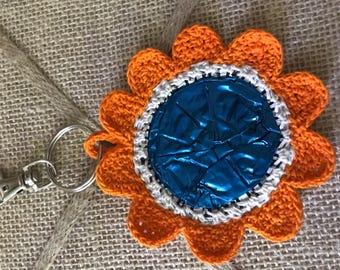 Crochet Flower Bag Charm Car Charm Keychain Made from Nespresso Coffee Pod - Orange with blue center