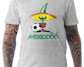 Mexico 86 Football World Cup Mascot Pique Soccer Distressed Grey Small to XXL