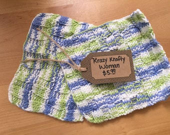 2pc Knitted Dish Coths or Wash Cloths = Size 8X7