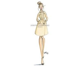 """Fashion illustration print """"Kate"""", Fashion sketch art, Fashion art print, Fashion illustration sketch, Watercolor ,Chanel art."""