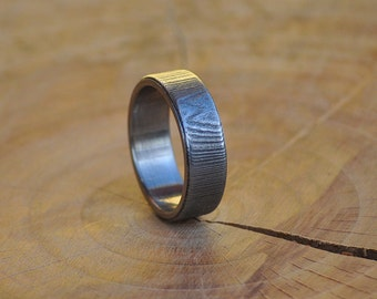 Stainless Steel Ring for Women and Men with Damascus steel Inlay