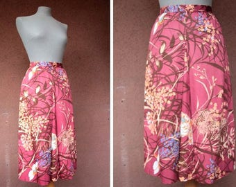 1970's Floral Pink / Red A-Line midi Skirt  -Size S #1588