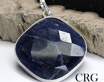 Silver Plated Faceted Square Blue Aventurine Pendant (FC22DG)