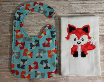 Baby Bib and Burp Cloth- Fox Baby Bib, Baby Girl Bib, Baby Boy Bib, Minky Baby Bib, Boy Baby Bib, Fox Burp Cloth, Fox Burp Rag, Fox Burpee