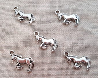 Pony Charms x 5.  Carnival Horse Charms. Fairground Horse Charms. My Little Pony Charms.  Antique Silver Tone. UK Seller