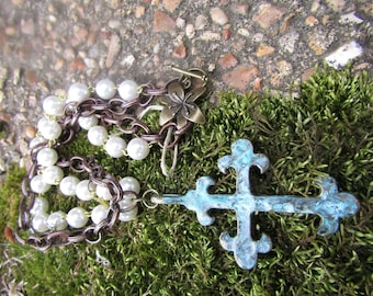 "Turquoise Large Cross and Pearl necklace 18"" long"