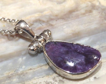 Charoite Sterling Silver Purple Pendant ONLY. Handmade.