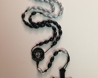 Raiders Rosary Silver/Blk