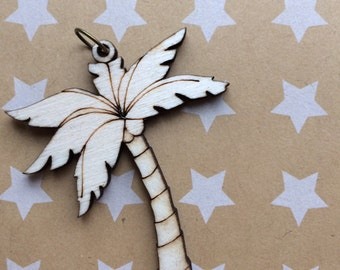Palm tree wooden cut necklace