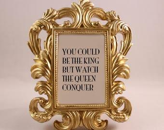 GOLD Framed Lyrics Quote Nicki Minaj Monster motivational inspriational home decor gift dorm office desk decor fancy ornate hip hop rap art