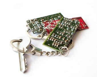 Red Circuitboard Keyring, Green Circuitboard Keyring, Green Keychain, Red Keychain, Computer Keychain, Geek Keychain, Circuitboard Keyring