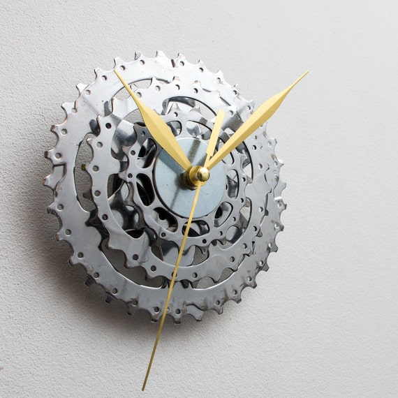Contemporary Clock, Boyfriend Gift, Husband Gift, Small Wall Clock, Bicycle Clock, Unique Bike Clock, Industrial Decor, Decorative Clock