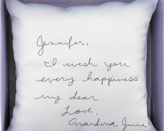 Custom printed hand written note ring bearer pillow keepsake