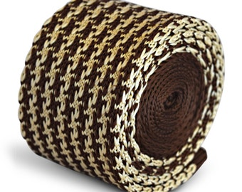 brown and cream dogstooth knitted skinny tie by Frederick Thomas FT3288