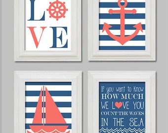 8X10 Nautical Nursery, Nautical Art Prints, Anchor, Sailboat, Count the waves in the sea, Ocean Blue and Coral