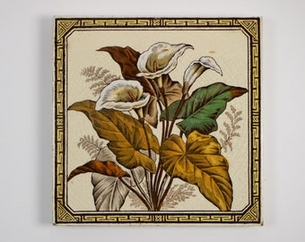 Antique 1880s Aesthetic Movement Victorian tile arum lilies lily