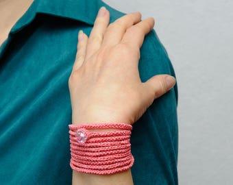 Wrap Crochet Bracelet Crochet Wrap Bracelet Pink jewelry Pink bracelet handmade bracelet women bracelet Crochet Jewelry girlfriend gift idea
