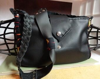 Bag of fire, Black leather shoulder bag, black leather and flames, leather and flames, handmade leather bag, leather shoulder bag, unique