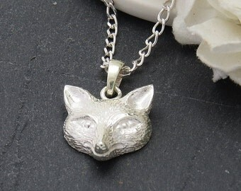 925 Sterling Silver Fox Pendant Necklace, Silver Fox jewelry, Fox Necklace, Woodland Jewelry, Fox Jewelry
