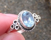Renaissance Ring, Blue Topaz, Sterling Silver, Stacking Ring