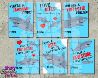 SHARK VALENTINES - Shark Valentine Cards - Valentines for boys - Fish Valentines - Valentines for school  Classroom Valentines Diy Printable