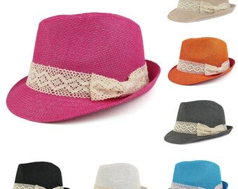 Colorful Paper Straw Fedora Hat with Lace Band (HT5240)