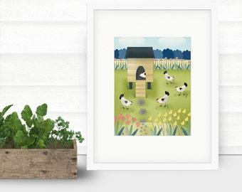 """Folk Art Landscape Giclee Print """"The Chicken Coop"""""""