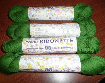 5 Schaffhauser Wolle Coton Ribonette Yarn Skeins Green Color