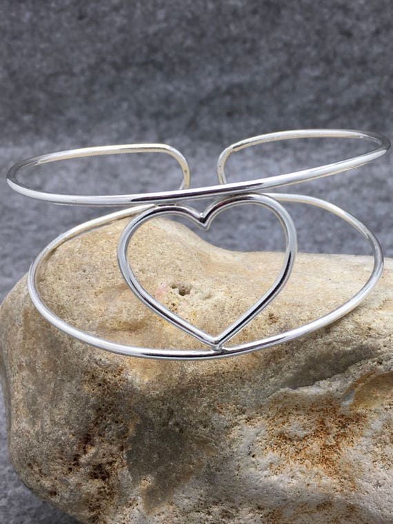 Sterling Silver Heart Bangle.