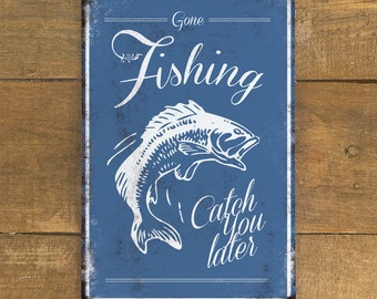 Gone Fishing Vintage Metal Wall Sign Plaque - Fisherman Hobby - A4 Aluminium plaque - Gifts for men - man cave shed - 200mm x 300mm