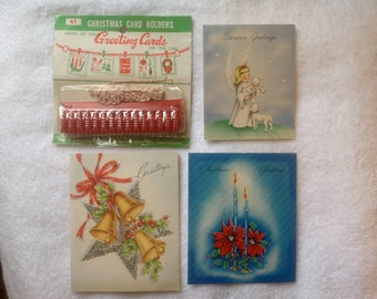 Vintage Christmas cards with holder ( Free Ship)