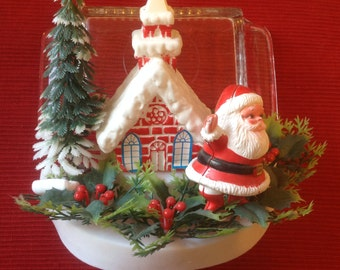 Vintage plastic Santa decor