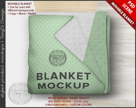 Folded Blanket PSD Styled Mockup | Cuddle Dimple Minky Backside | Top View Blanket on Wood Table B1