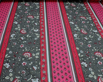 Fabric pure cotton Provence grey stripe flower twine hot pink light grey Indienne