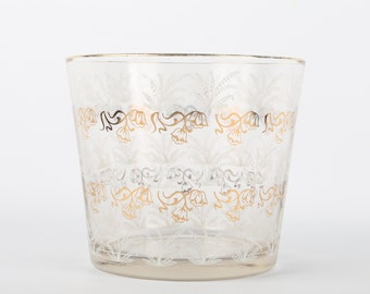 """1950's Clear Glass Ice Bucket w White Lily-of-the-Valley and Gold Snow Drops, Excellent Cond., 5"""" H X 5-3/4"""" Top diameter."""