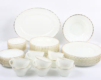 "Vintage 1955 Anchor Hocking, 43 Pieces ""Suburbia"" ""Golden Anniversary"" Swirl Scallop 22K Gold Edged Milk Glass Dinnerware, Ovenproof."